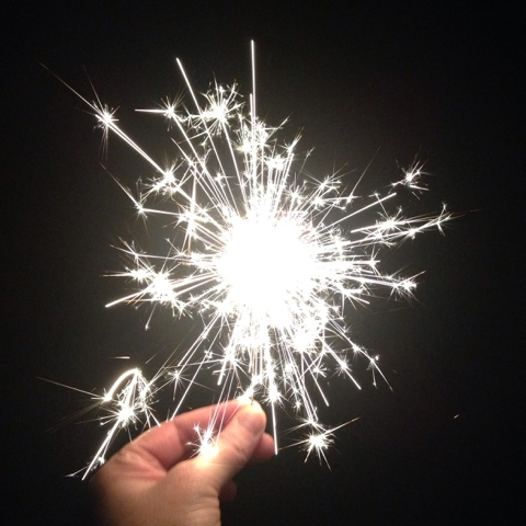 Mini sparkler in the back garden for Guy Fawkes' night