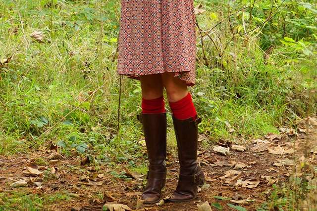 red seventies tunic dress with knee socks and long boots