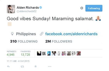 Alden Richards reaches 2M Twitter followers