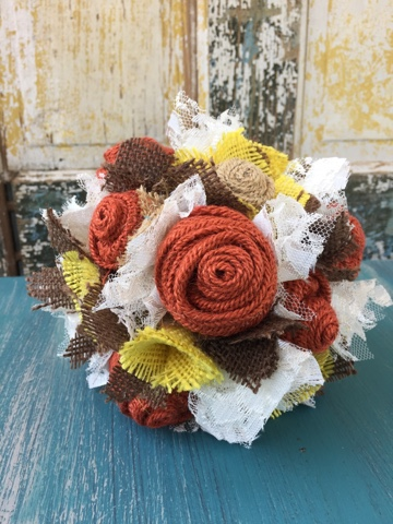 burnt orange, yellow and brown burlap bouquet