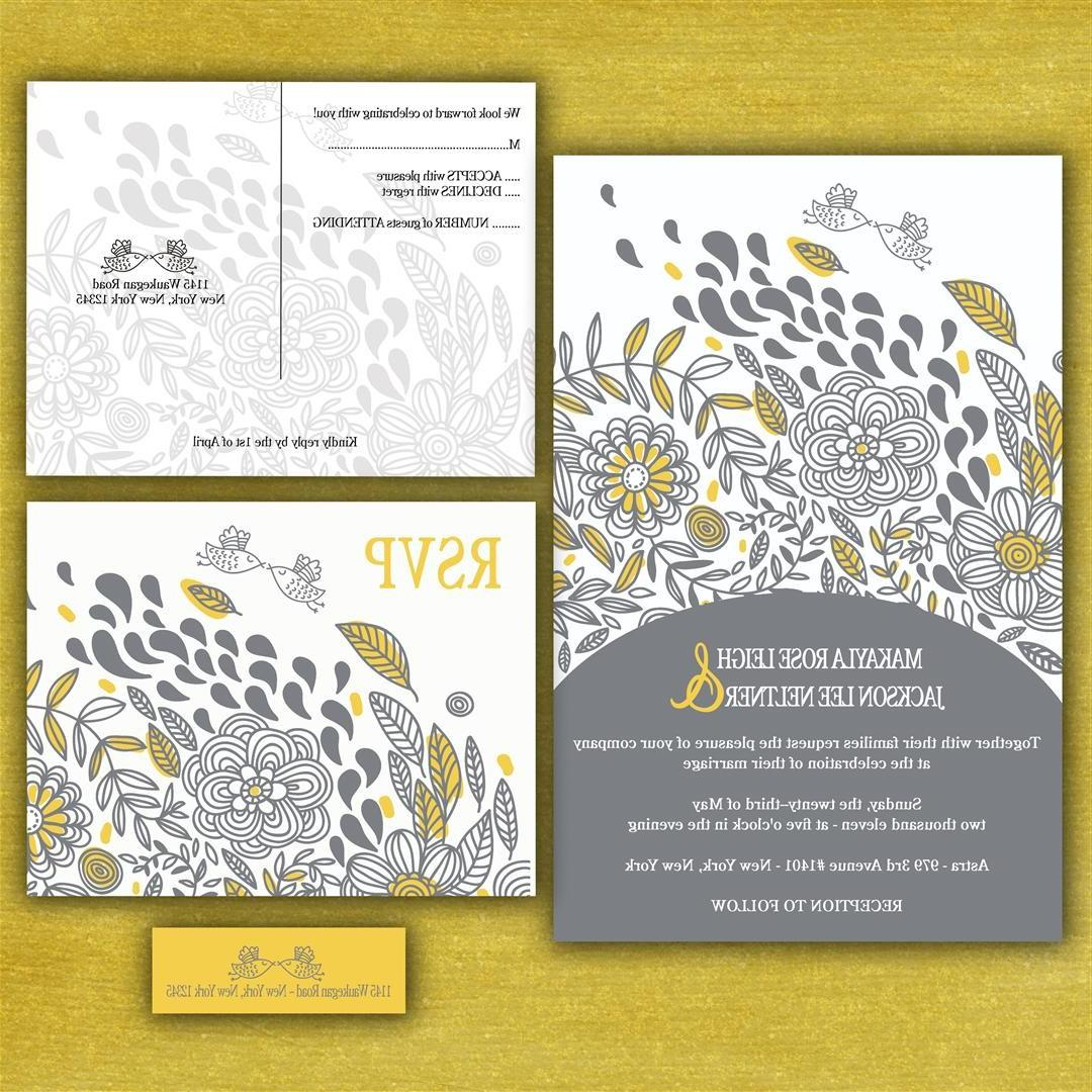 Whimsical Birdies Custom Wedding Invitation Suite with RSVP postcards and