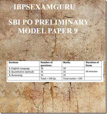 SBI PO Preliminary Model Paper 9