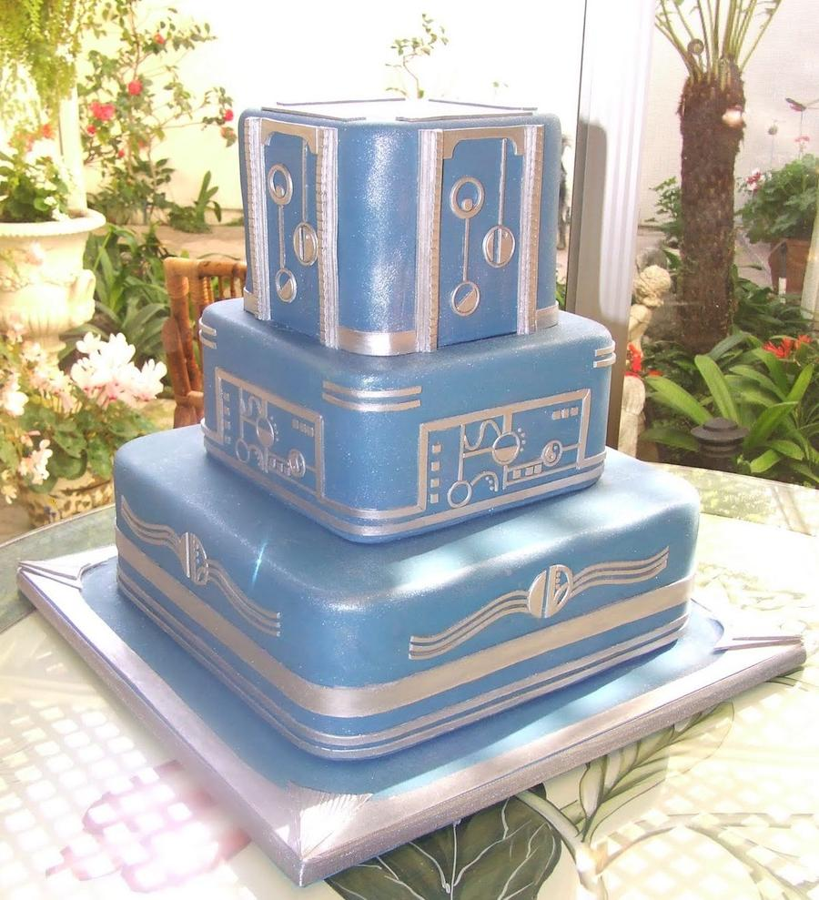 Baby Blue Art Deco Cake