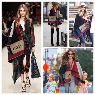 Cara Delevingne, Olivia Palermo, Sarah Jessica Parker, Rosie Huntington Whiteley in Burberry Blanket Poncho Coat