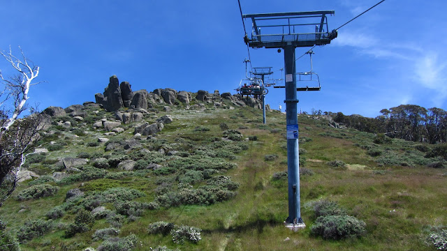 Riding the chair lift up Mount Kosciuszko.