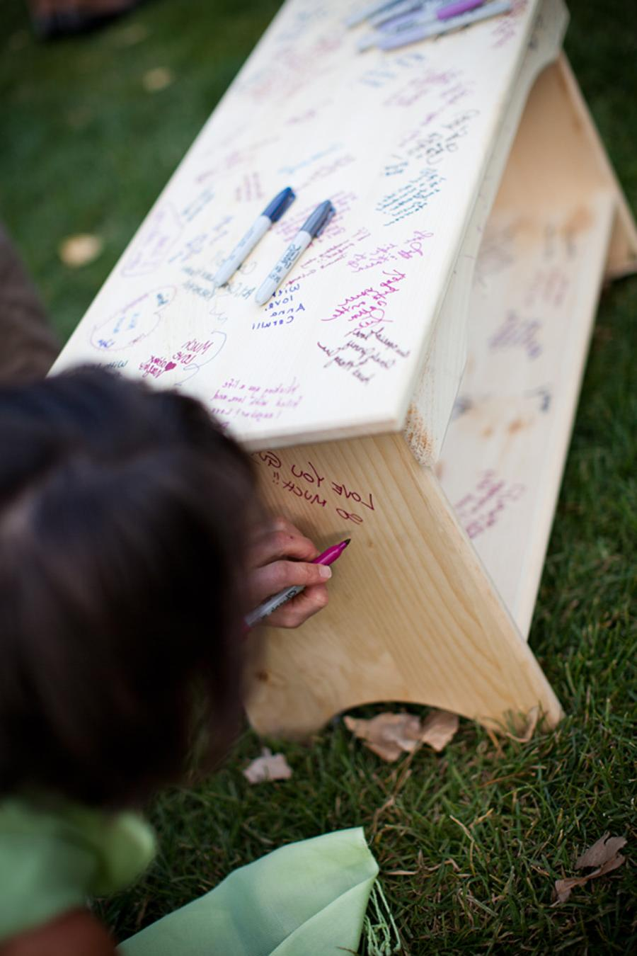 bench as wedding guest book,
