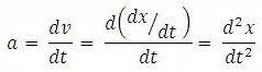 Turunan notasi kalkulus percepatan sesaat