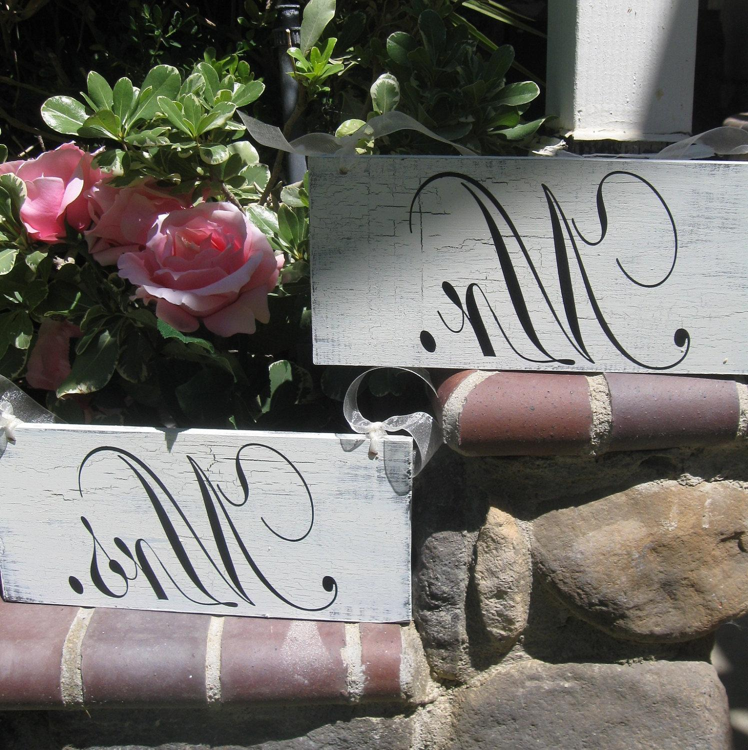 Wedding Signs TWO sided Mr and Mrs with Thank You - Shabby Cottage Chic