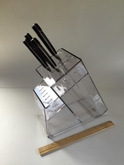 Lucite knife block with knives