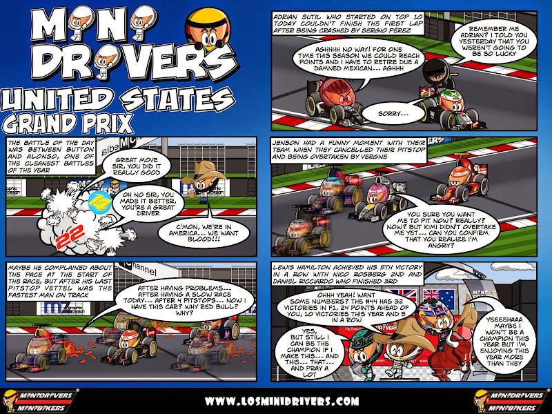 комикс MiniDrivers по гонке на Гран-при США 2014