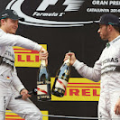 Hamlilton & Rosberg celebrate their 1-2 victory