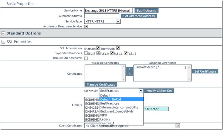 Kemp - SSL settings with template no RC4