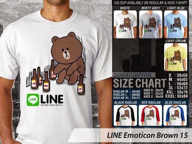 KAOS IT LINE Emoticon Brown 15 Social Media Chating distro ocean seven