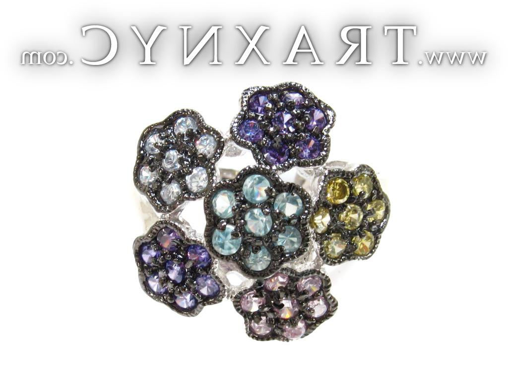 Full Size Picture for CZ Colorful Flower Ring 21313