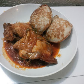 Masa with miyan taushe sauce