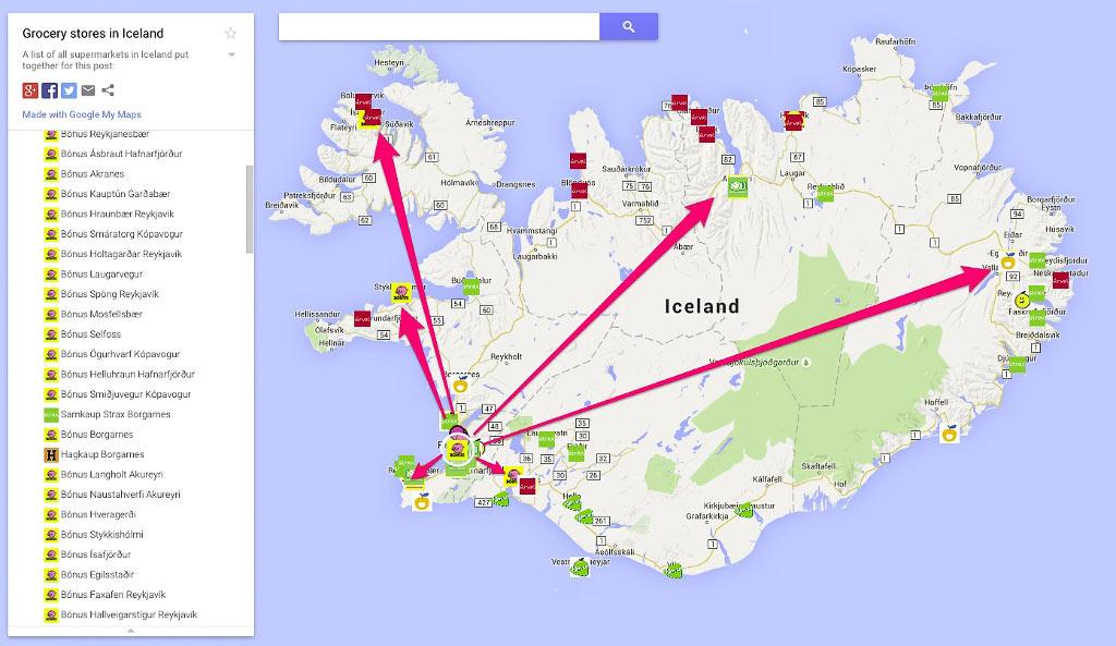 Сеть магазинов Бонус по всей Исландии с самумы доступными ценами на продукты
