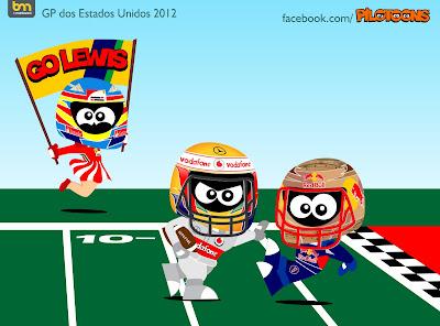 pilotoons Фернандо Алонсо поддерживает Льюиса Хэмилтона в борьбе с Себастьяном Феттелем на Гран-при США 2012