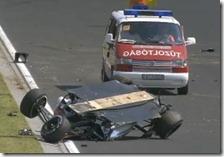 La Force India ribaltata di Sergio Perez