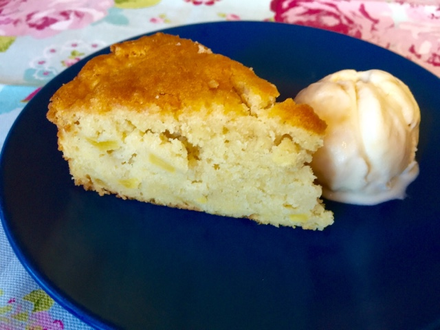Apple cake with sour cream and clotted cream and honeycomb ice-cream