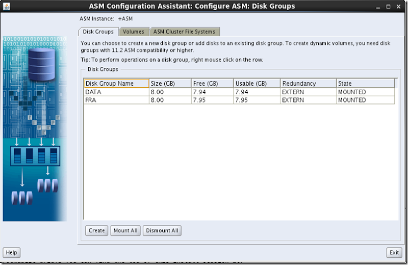 ASMCA Disk Groups After Creation