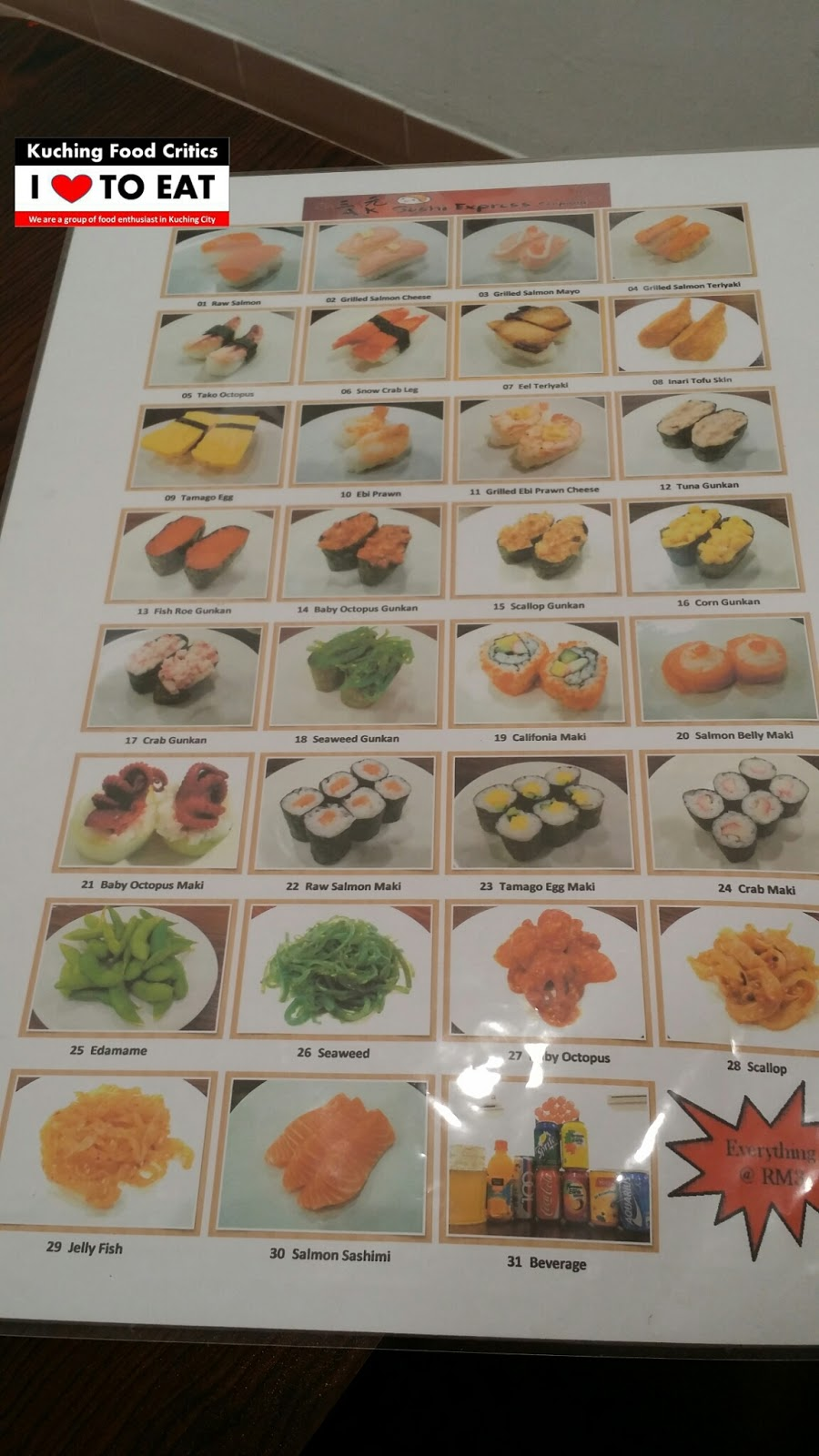 Sushi Cafe Menu Kuching