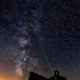 Via Lactea by Lourdes Ortega Poza - Landscapes Starscapes ( luz, via lactea, laser, iglesia, extrellas, noche, luna )