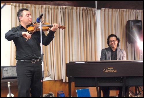Our guest artists, Nick Jones (violin) and Ben Fernandez (Clavinova). Photo courtesy of Dennis Lyons.