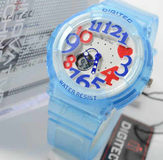 Jam Tangan Digitec blue transfaran rubber ladies Original.