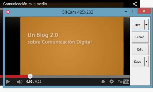 Ejemplo de uso del programa GifCam