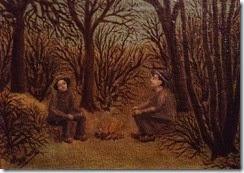 Chasseurs-assis-et-aux-aguets-dans-la-forêt