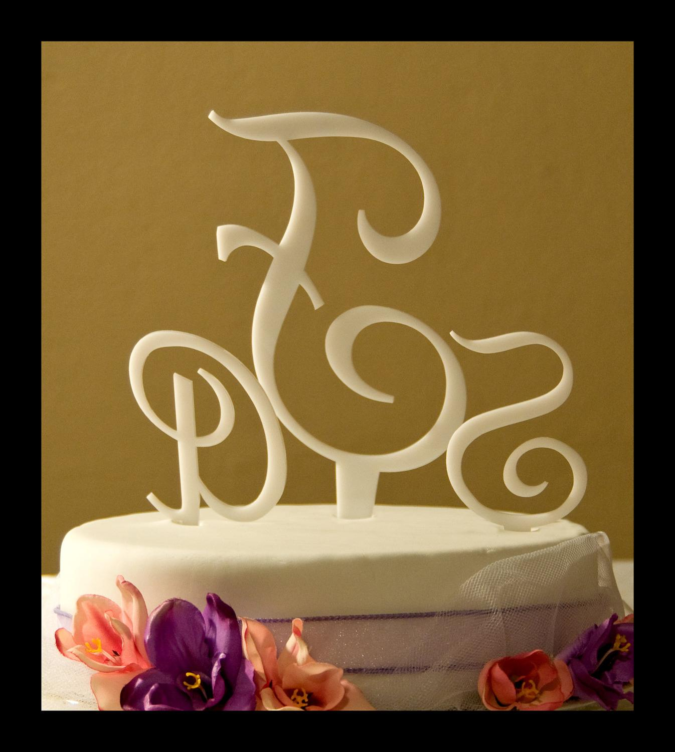 Three Letter Monogram Wedding Cake Topper,