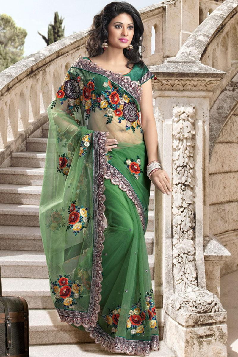 Green Wedding and Festival Net Embroidered Saree   109.00