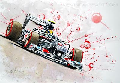 Эстебан Гутьеррес Sauber C32 - рисунок Kevin Paige Art