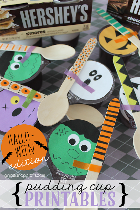 Halloween Pudding Cup Printables at   GingerSnapCrafts.com