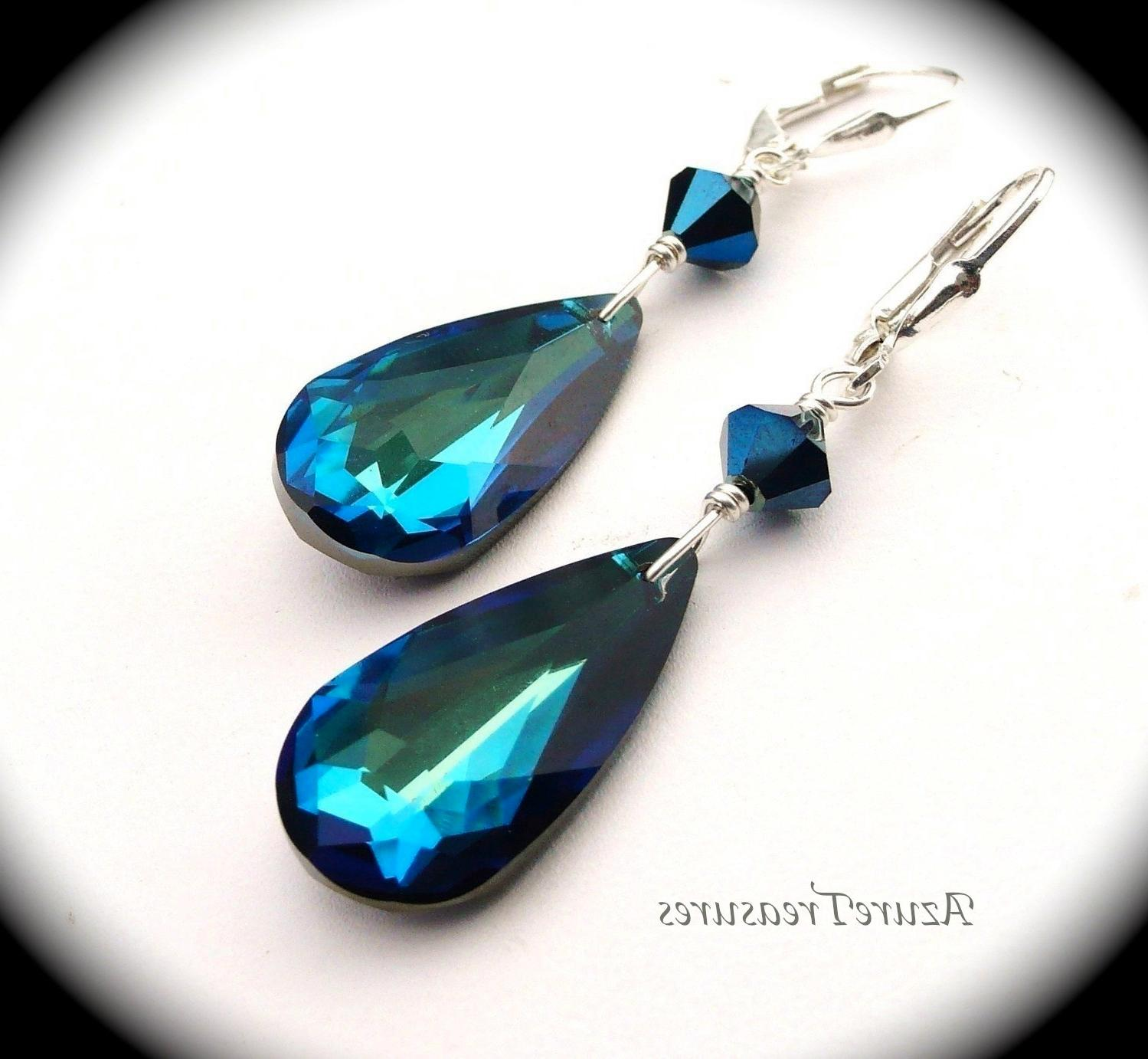 Long Peacock Blue Earrings
