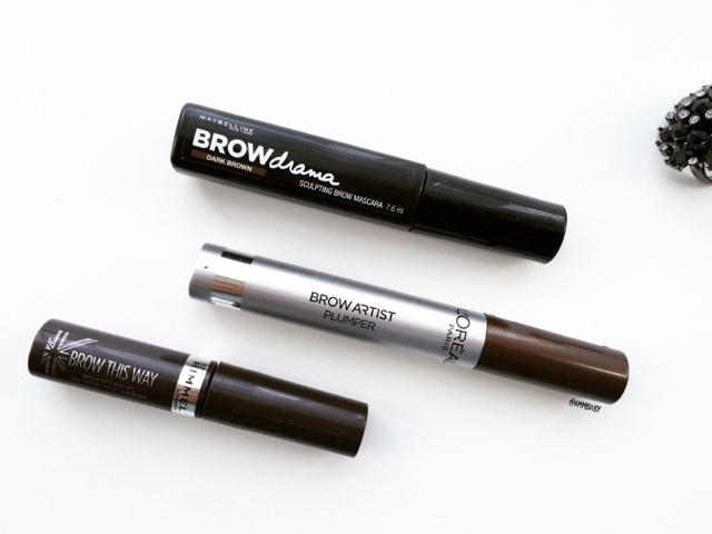 maybelline, l'oreal and rimmel tinted brow gels