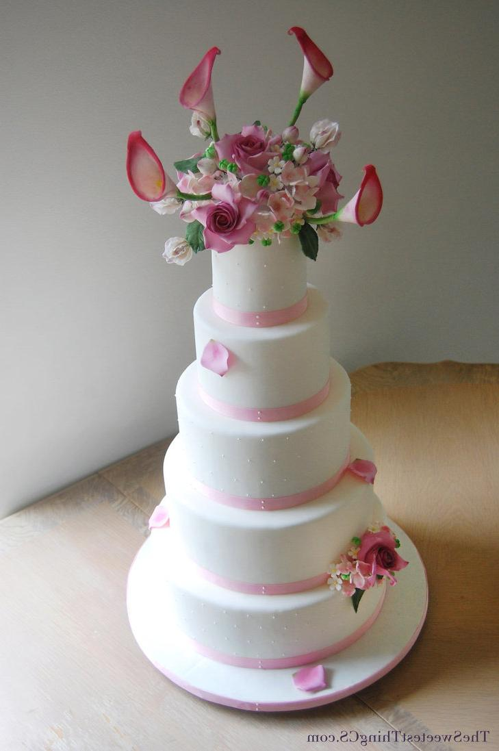 Pink and White Wedding Cake by