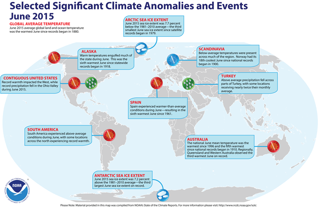 June 2015 Selected Climate Anomalies and Events Map. Graphic: NOAA