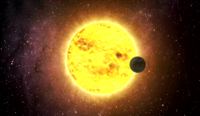 ilustração de um exoplaneta transitando em frente da sua estrela progenitora