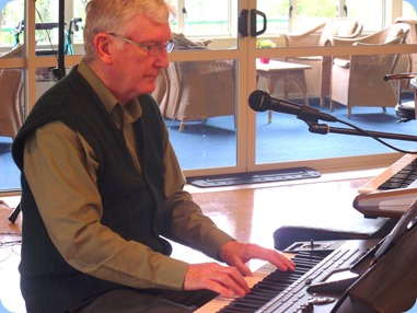 Gordon Sutherland playing his Korg Pa3X. Photo courtesy of Delyse Whorwood.
