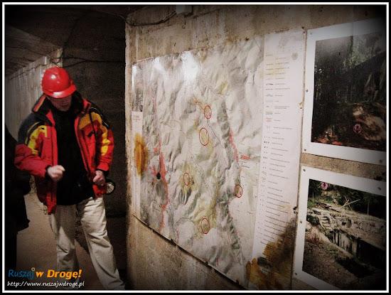 Przewodnik przed mapą kompleksu Riese