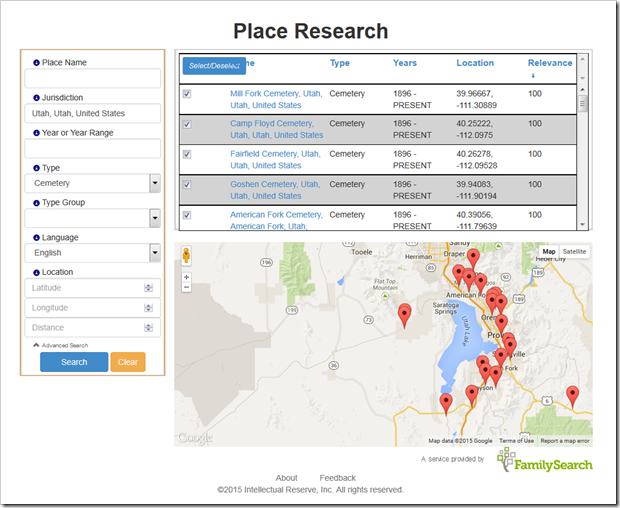 FamilySearch Place Finder Advanced Search