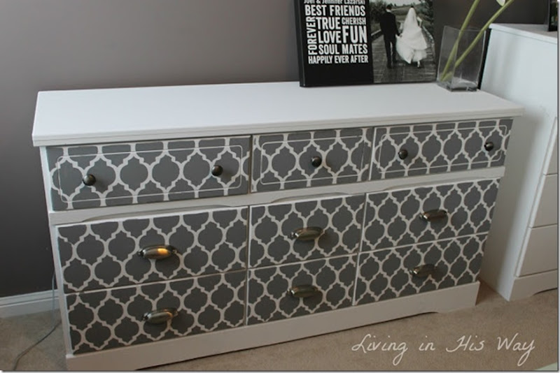 Dresser update using chalk paint and cutting edge stencils