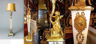 Красивый антикварный торшер. 19-й век. Белый мрамор. Резная позолоченная бронза. Высота 200 см. 9000 евро.