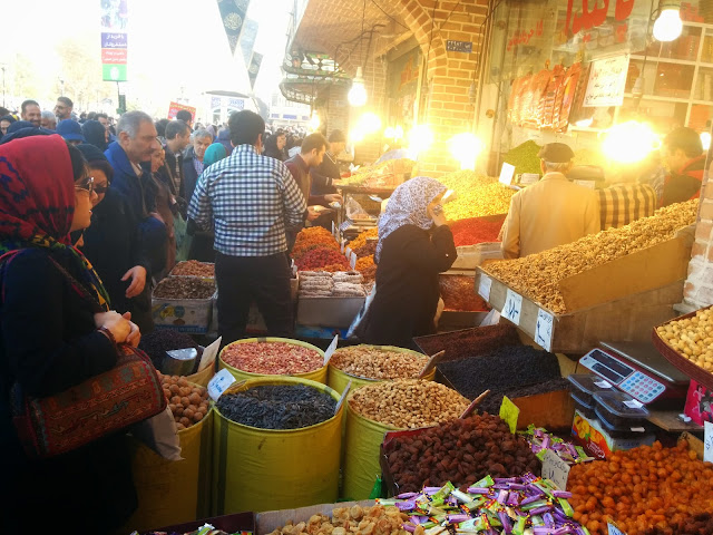 Nuts and sweets can be seen everywhere in the markets of Iran