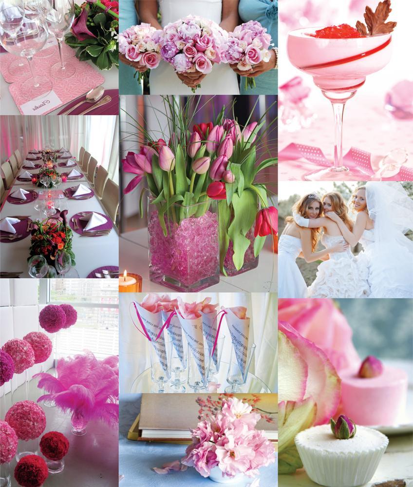 pink winter wedding
