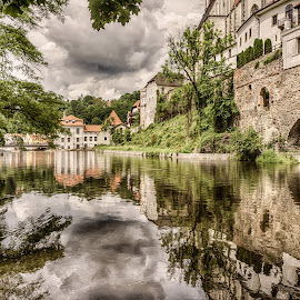 Cesky River by Adam Lang - City,  Street & Park  Historic Districts ( water, cesky krumlov, czech, reflections, river )