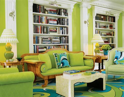 frisch und frech. peppiges wohzimmer mit grünem touch