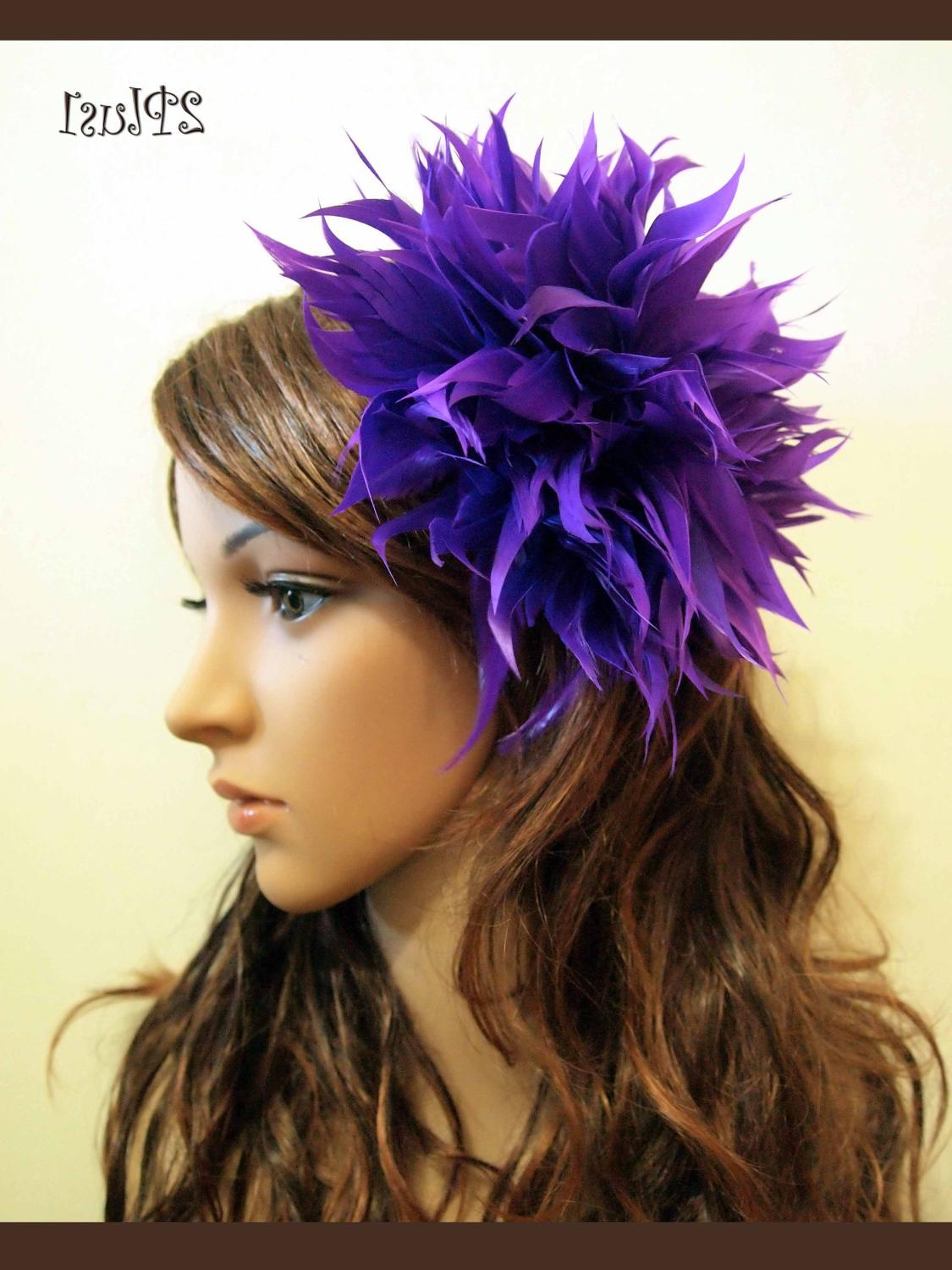 New Purple Feather Fascinator Hair Clip Wedding Party Prom. From 2PlusOne