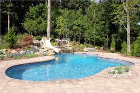 24' x 35' Free Form Gunite Pool with custom bench, slate tile, and Big Ride Slide - Woodbury, Long Island NY